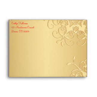 """Red and Gold Snowflakes Envelope for 5""""x7"""" Sizes"""