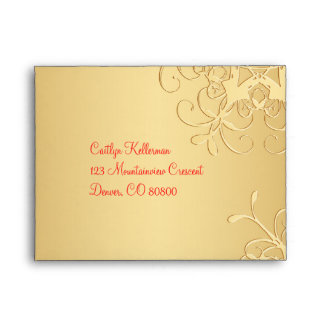 Red and Gold Snowflakes Envelope for RSVP Card