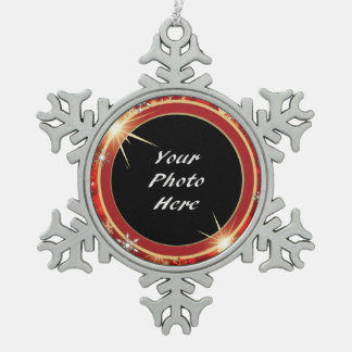 Red and Gold Snowflakes Photo Snowflake Pewter Christmas Ornament