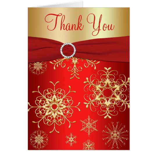 Red and Gold Snowflakes Thank You Card