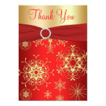 "Red and Gold Snowflakes Thank You Card 5"" X 7"" Invitation Card"