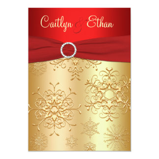 Red and Gold Snowflakes Wedding Invitation