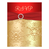 Red and Gold Snowflakes Wedding RSVP Card Invitations