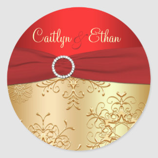 Red and Gold Snowflakes Wedding Sticker