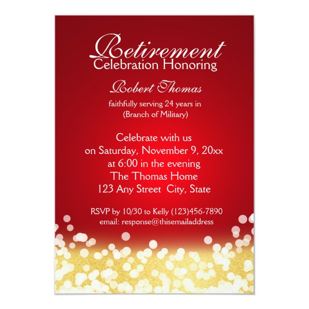 Red and Gold Sparkle Lights Retirement Party Card