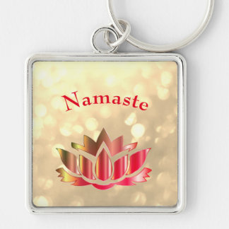 Red and Gold sparkle Namaste Lotus Flower Keychain