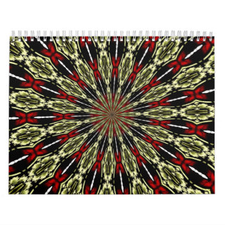 Red and Gold Stained Glass Window Kaleidoscope Wall Calendars
