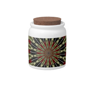 Red and Gold Stained Glass Window Kaleidoscope Candy Dishes