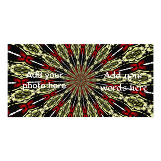 Red and Gold Stained Glass Window Kaleidoscope Card