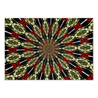 "Red and Gold Stained Glass Window Kaleidoscope 3.5"" X 5"" Invitation Card"
