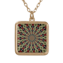 Red and Gold Stained Glass Window Kaleidoscope Pendant