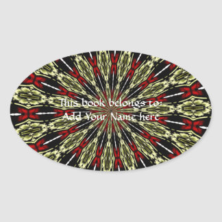 Red and Gold Stained Glass Window Kaleidoscope Oval Sticker
