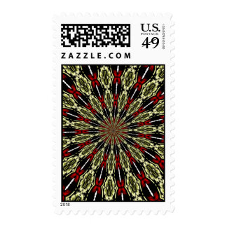 Red and Gold Stained Glass Window Kaleidoscope Postage