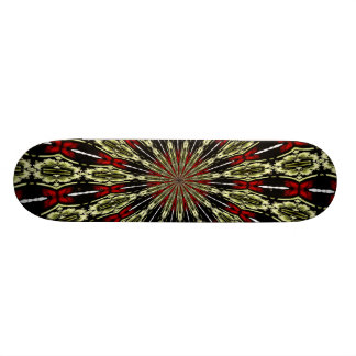 Red and Gold Stained Glass Window Kaleidoscope Skateboard