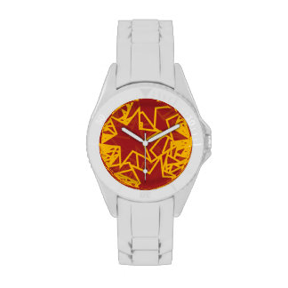 Red and Gold Star Team Spirit Sports Colors Wristwatches