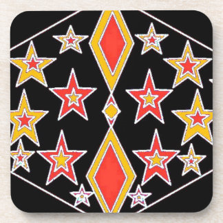 red and gold stars.jpg beverage coaster