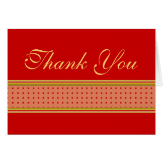 Red and gold stripes and polkas thank you card