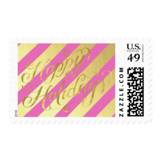Red and Gold Stripes Happy Holidays Postage