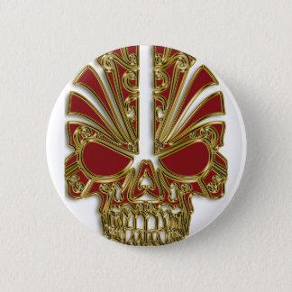 Red and gold sugar skull cranium button