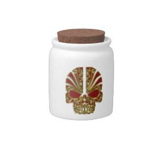 Red and gold sugar skull cranium candy jar
