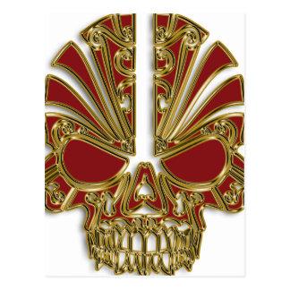 Red and gold sugar skull cranium postcard