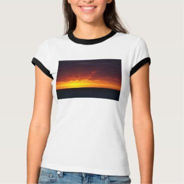 Beach Themed Red and Gold Sunset T-Shirt