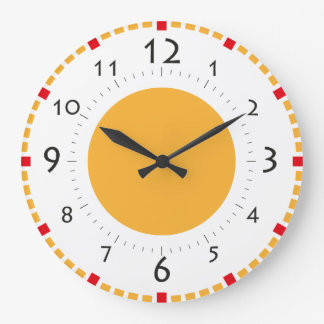 Red and Gold Sunshine Retro Clock