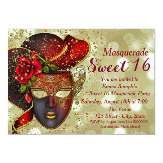 Red and Gold Sweet 16 Masquerade Party Card