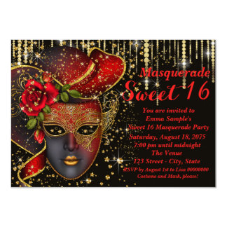 Red and Gold Sweet Sixteen Masquerade Party Card