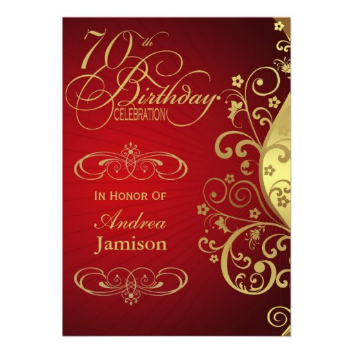 Red and Gold Swirl 70th Birthday Party Invitation
