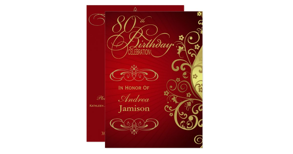 Red And Gold Swirl 80th Birthday Party Invitation Zazzle