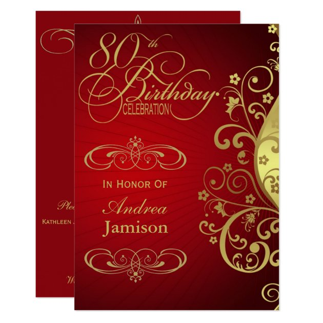 red and gold swirl 80th birthday party invitation