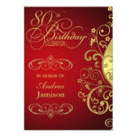 """Red and Gold Swirl 80th Birthday Party Invitation 5"""" X 7"""" Invitation Card"""