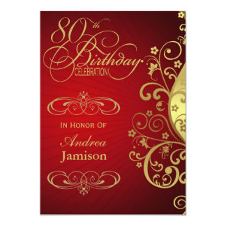 "Red and Gold Swirl 80th Birthday Party Invitation 5"" X 7"" Invitation Card"