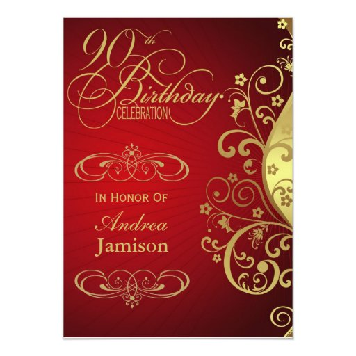 Red and Gold Swirl 90th Birthday Party Invitation