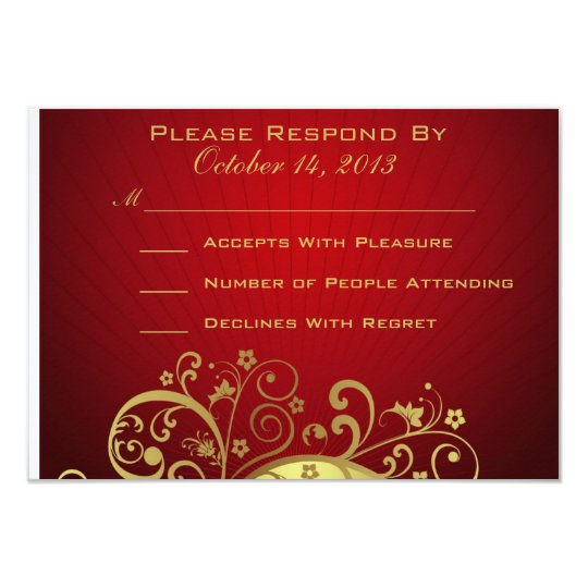 Red and Gold Swirl Reply Card