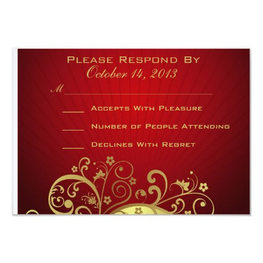 """Red and Gold Swirl Reply Card 3.5"""" X 5"""" Invitation Card"""