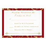 Red and Gold Swirl RSVP Card