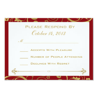 Red and Gold Swirl RSVP Card Custom Invites