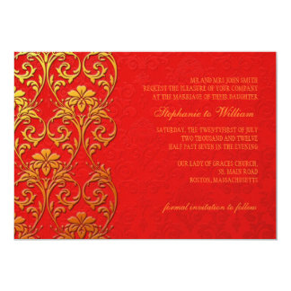 Red and Gold Swirl Wedding Invitation