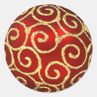 Red and Gold Swirls Classic Round Sticker