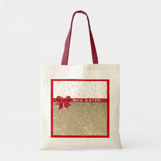 Red and Gold Teacher Tote