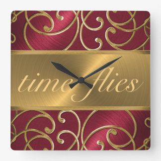 Red and Gold Time Flies Clock