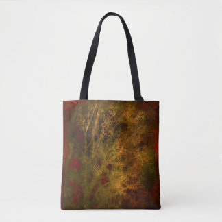 Red and Gold Tree Branches Abstract Tote Bag