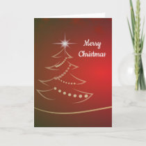 Red and Gold Tree Merry Christmas Greetings Holiday Card