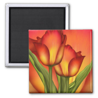 Red and Gold Tulips 2 Inch Square Magnet