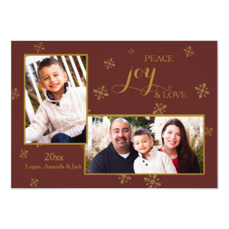 Red and Gold Two Photo Holiday Card