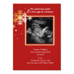 """Red and Gold Ultrasound Holiday Card 5"""" X 7"""" Invitation Card"""