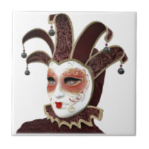 Red and Gold Venetian Carnivale Mask Ceramic Tile