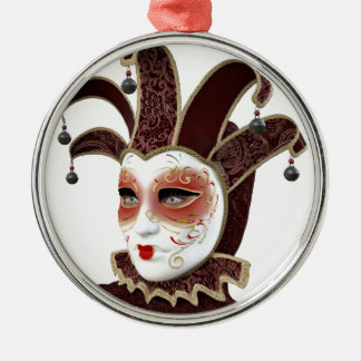 Red and Gold Venetian Carnivale Mask Metal Ornament